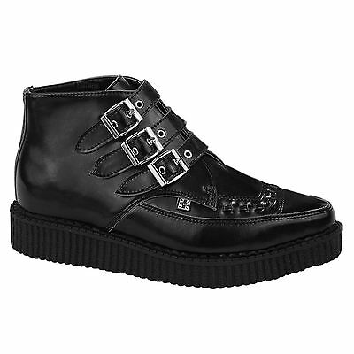 T.U.K 3 Buckle Pointed Creeper Black Mens Boots
