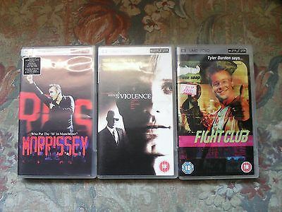 3 x UMD Movies for Sony PSP (Fight Club, A History of Violence, Morrissey)