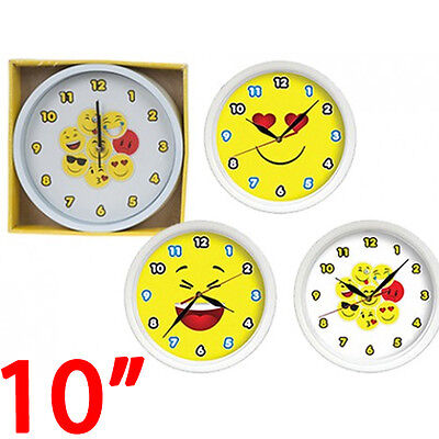 """10"""" Emoji Clock Funny Faces Emotions Icon Novelty Kitchen Bedroom Fun Kids New"""