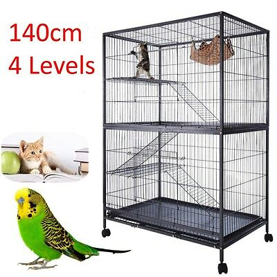 Ferret Bird Cage 4 Level Cat Hamster Rat Budgie Pet Aviary With Wheels0