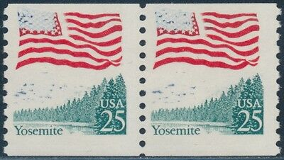 """#2280 Var. """"25¢ Yosemite"""" Pair With Mostly Blue Color Omitted Error Bs7922"""