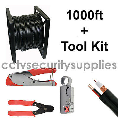 1000Ft Siamese Cable Video Power Wire Rg-59 W/compression,crimer,cutter Tool Kit