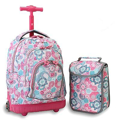 J World New York Lollipop Kids' Rolling Backpack with Lunch Bag Blue Raspberry