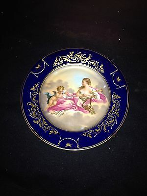 "Early 7 1/8"" Artist Signed Cobalt Royal Vienna Plate"