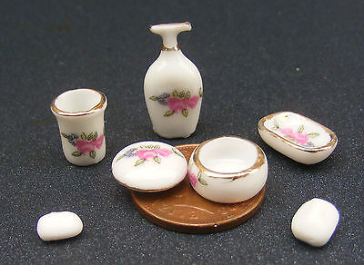 1:12 Scale Set of 5 Ceramic Bathroom Pieces & 2 Soap Bars Dolls House Miniature