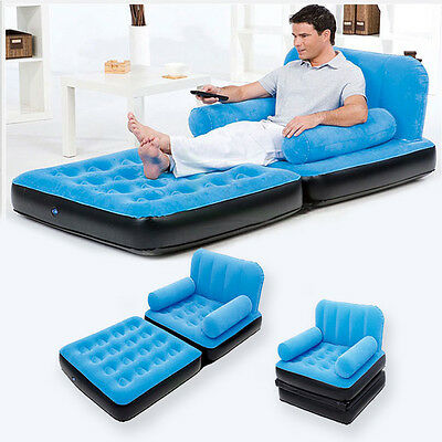 Pull-Out Daybed Inflatable Single Flocked Air Bed Luxury Airbed Mattress Couch