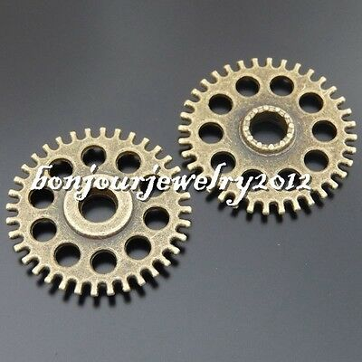 50550 Vintage Bronze Alloy Porous Gear Wheel Crafts Pendants Findings Charms 6x