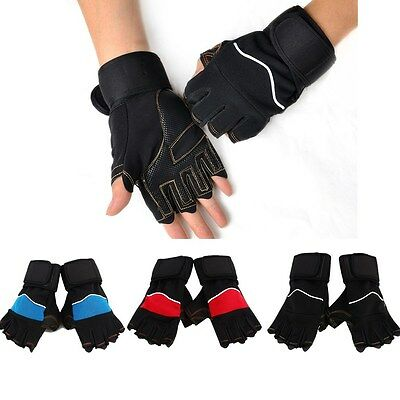 Weight Lifting Training Exercise Fitness Body Building Gloves Padded Leather