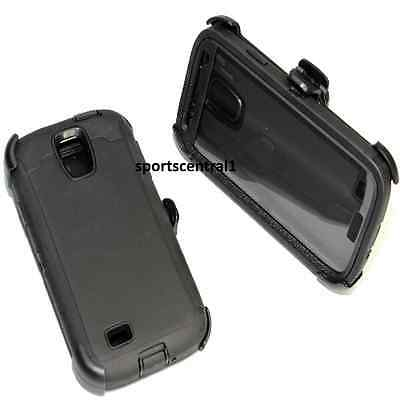 For Samsung Galaxy S4 Defender BLACK Case Cover [Belt Clip Fits Otterbox]