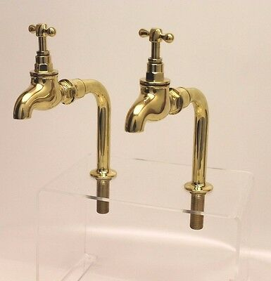"Large BRASS BELFAST SINK BIB TAPS 3/4"" bsp Highly polished on 1/2"" bsp Upstands"