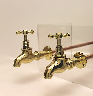 """Large BELFAST SINK BRASS BIB TAPS 3/4"""" bsp  with concealed wall plates mounts"""