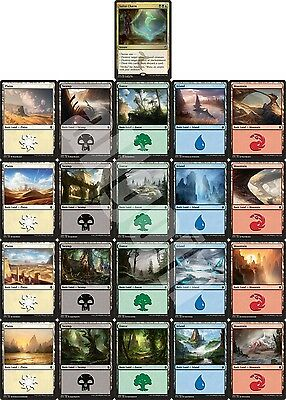 MTG Khans Of Tarkir KTK Sultai Charm FOIL Alt Art + 20 Basic Lands Full Set NEW