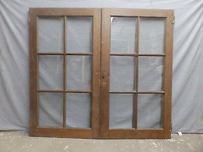 Antique Pair Oak 6 lite Library Book Case Doors Old Vtg Cabinet Cupboard 278-16