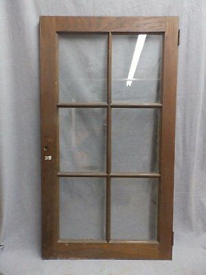 Antique Oak 6 lite Library Book Case Door Old Vintage Cabinet Cupboard 279-16