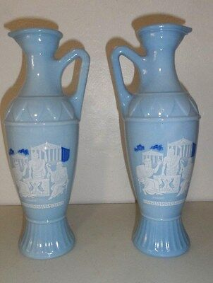 2 Vintage Greek Key Blue Glass Vase Aristole, Plato, Socrates Milkglass Pitcher