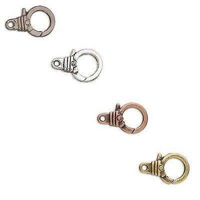 Lot of 4 Round Hand Cuff Lever Lobster Claw Clasps Plated Pewter Base Metal