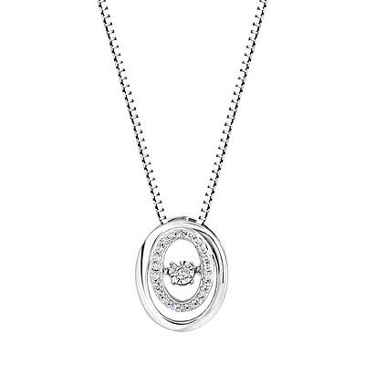 Sterling Silver 925 Dancing Diamond Double Oval Pendant Necklace