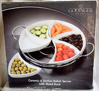 Godinger Silver Art Ceramic 6 Section Relish Serving Tray With Rack ~ New