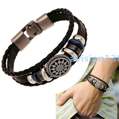Fashion Leather Cute Charm Wrap Cuff Women Men Bracelet Jewelry Vintage Braided