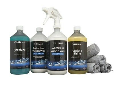 Williams Ultimate Car Cleaning Kit Waterless Wash n Wax Removes Dirt Bird Grime
