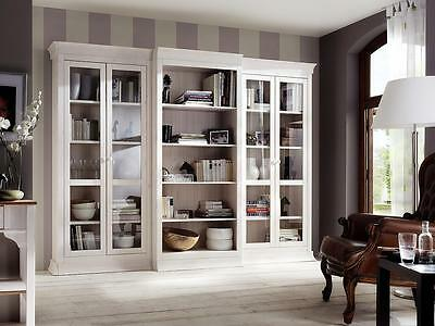 wohnwand kiefer massiv wei landhausstil boston anbauwand wohnzimmerschrank eur. Black Bedroom Furniture Sets. Home Design Ideas