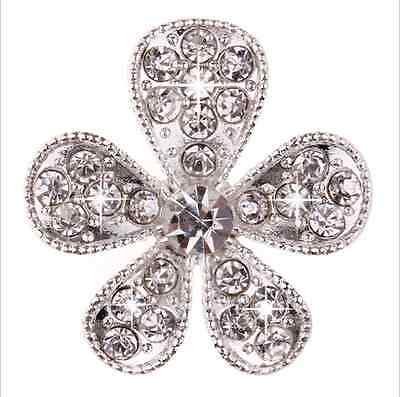 10 Crystal Diamante Flower Buttons Flatback Cabochons Embellishment Craft 25mm