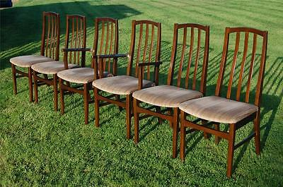 Fab! Set of Six Vintage Retro Dining Chairs Including Two Carvers