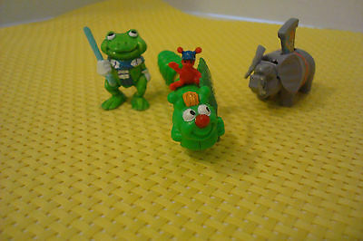 Vintage Ferrero lot of 3 Mini Kinder surprise egg toy figures Caterpiller,Frog +