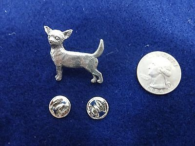 Vintage SIGNED Harris Chihuahua Dog Pin Brooch PEWTER Jewelry Collectible NOS