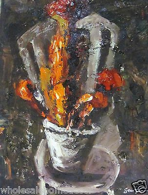 """Oil Paintings On Canvas Modern Art Flowers Bouquet On Chair 16""""x12"""""""