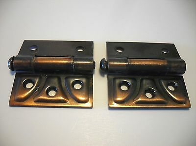 Vtg Copper Flash Japanned Half Mortise Butterfly Cabinet Door Hinges Ornate