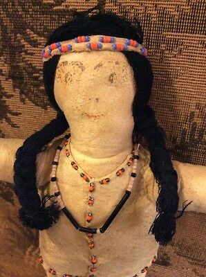 Antique Native American Or Plains Indian Buckskin, Beaded & Cloth Doll