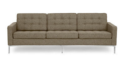 Florence Knoll Style Sofa 3 Seat, Oatmeal Houndstooth Twill