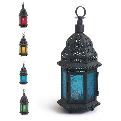 Glass Metal Moroccan Delight Candle Holder Tealight Hanging Garden Lamp  Lantern