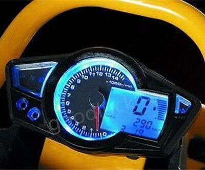 MPH/KMH Tire Size Adjust LCD Odometer Speedometer Tachometer Motorcycle 14000RPM