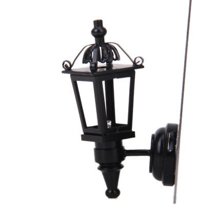 Black Metal Working Wall Lamp Light w Battery Doll House Miniature Accessory