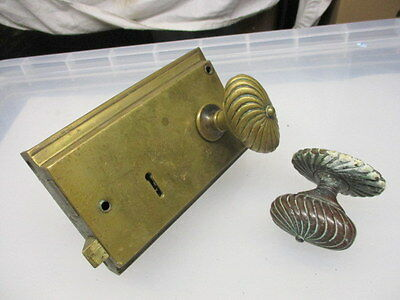Georgian Brass Rim Lock Door Regency Spiral Knob Handle Antique c1800 Victorian