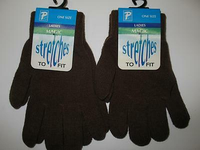 Lot (2) Brown Ice Figure Skating Thin Stretch-Fit Fall Winter Gloves Womens OSFM
