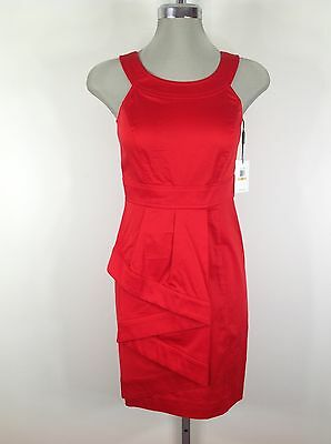 Calvin Klein Brand New wT Elegant Fire Red Cotton Summer Dress Petite 8P