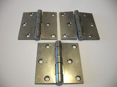"Three Vintage Plain Wrought Steel Entry Door Butt Hinges 3"" X 3"""