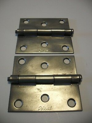 "Vintage Plain satin Wrought Steel Entry Door Butt Hinges 3"" X  3"" IDEAL brand"