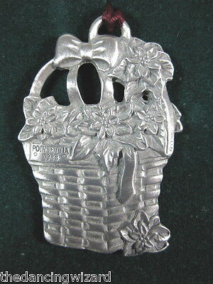 Longaberger Poinsetta Basket Pewter Christmas Ornament 1995