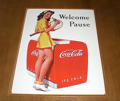 Coke Coca Cola Tin Sign - Welcome Pause - Girl With Tennis Racket