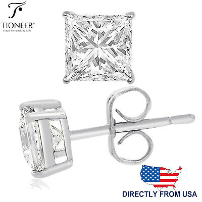 Sterling Silver 925 Solid Square Princess Cut Cubic Zirconia Stud Gift Earrings