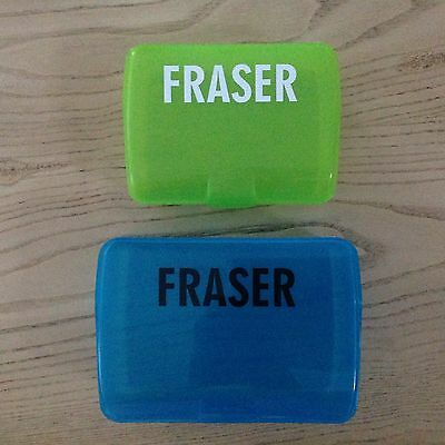 NAME STICKERS x5 Lunch Box Drink Bottle School Day Care Kindy Waterproof Vinyl