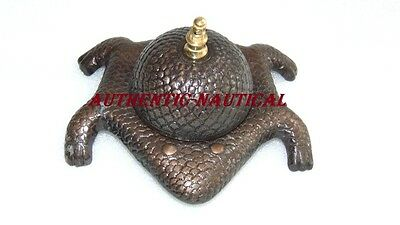 Vintage Antique Finishing Frog Toad Garden Lawn Spark Less Table Ware Gift Bell