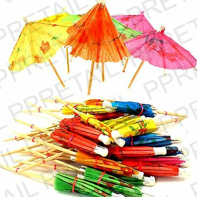 36 x COCKTAIL STICKS With PAPER UMBRELLAS Parasols Party Drinks Decoration Pack