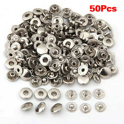 50 Set Metal No Sewing Press Studs Buttons Snap Fastener 10mm