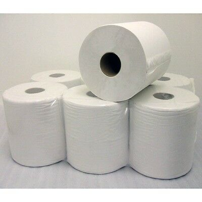 12 Pack 2 Ply Embossed White Centrefeed Paper Rolls FREE NEXT DAY DELIVERY