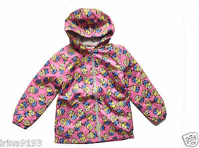 Next Girls Pink Minion Hood Water Resistant Raincoat Jacket Cagoule Size 4-12yrs